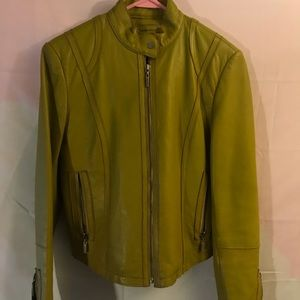 Leather green zip up jacket